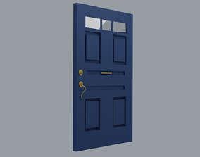Door Modern Blue 3D model