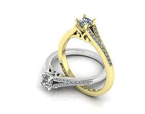 3D printable model unique Diamonds Engagement ring
