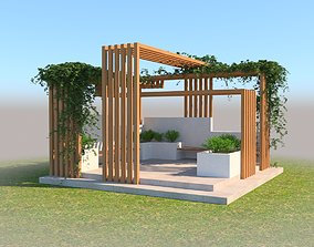 patio 3D Pergola Design With Bushes And Ivies