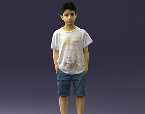 Boy in a t-shirt and shorts 0250 3D Print Ready