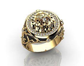 Mens Lion Diamond Ring 3D printable model