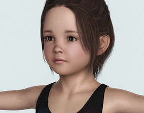 Realistic Cute Child Girl with Cloth 3D