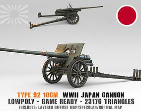 3D asset Low Poly Type 92 10 cm cannon
