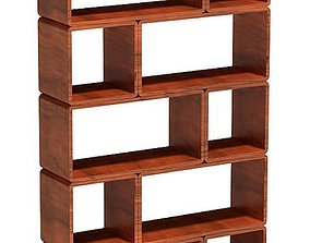Modular Wood Block Shelf 3D model