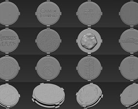 Pack of 14 decorative bases stands for 3D print model