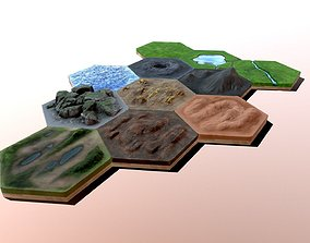 Hexlands Tileset 1 3D model low-poly