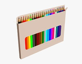 3D Color pencils in box 01 with window