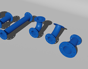 3D model Water pipes and fittings