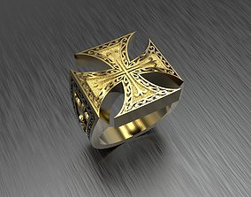 Man ring with cross 3D printable model