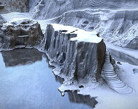 3D asset Winter Snow Environment 2 With Frozen Lakes And
