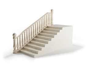 3D model White Railing With Stairs