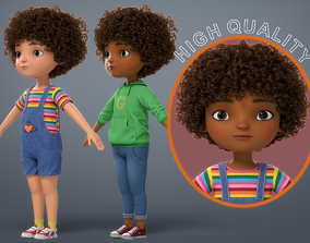 Cartoon Black Girl 3D model