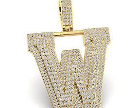 Custom 3D Initial W Letter Pendant