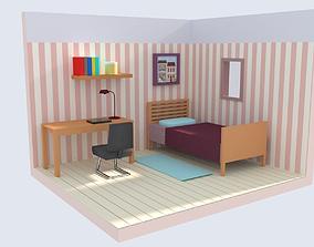 3D asset Bedroom LowPoly