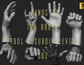 hand in 4 poses 3D asset