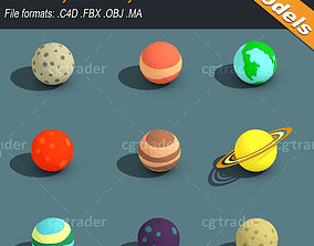3D asset Low Poly Solar System Planets