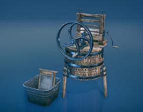 Western washing machine and washboard 3D asset