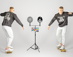 Young sporty man on a skateboard 134 3D model