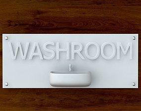 3d Printable Washroom sign STL OBJ