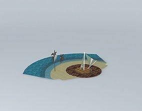 3D model Beach fabric sunshade 02