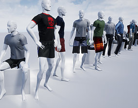 3D model Male Mannequins with various clothing