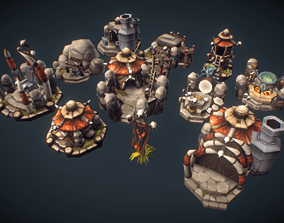 RTS Orc Building Set - Low Poly Hand Painted 3D model