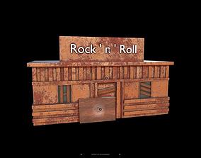 Post-Apocalyptic Rock Bar 3D asset