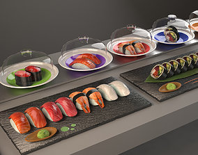 Conveyor belt sushi Kaitenzushi and dishes 3D model