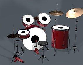 Free Drums Set 3d Model VR / AR ready