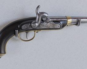 flintlock pistol old historic antique 3D model