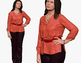 001178 oldy woman in coral blouse long hairs 3d print