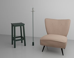 Living room with seat 3D asset