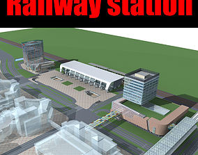 3D Railway station square