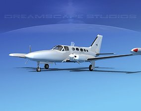 3D Cessna 414 Chancellor Bare Metal