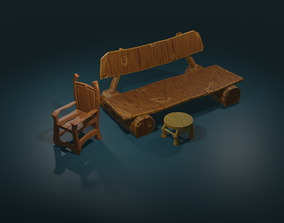 3D Low-poly Model game assets game ready chair low-poly