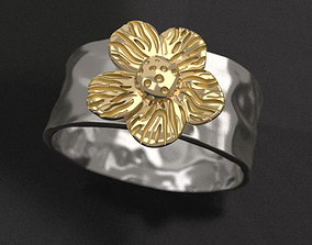 Forged Flower ring 3D printable model