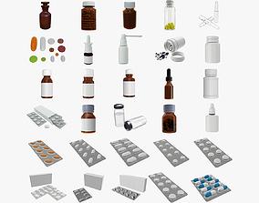 3D Medicine glass plastic bottles pills blisters mock up
