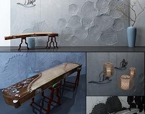 Beautiful Photoset Background with Guzheng 3D