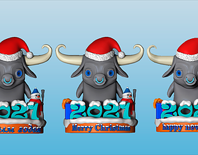 3D printable model bull 2021 as a gift for new year and