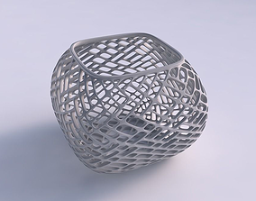 3D print model Bowl semi-quadratic with lattice tiles