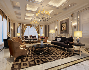 European style living room American style living room 3D