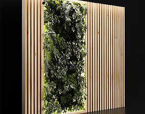 Wooden planks and vertical garden 3D model