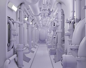 3D asset submarine corridor and water pipes collection
