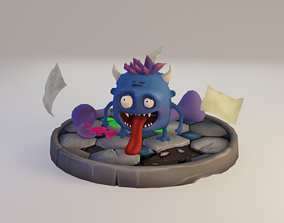 Monster low poly character 3D model low-poly