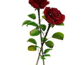 Red Rose with detailed petals 3D model low-poly