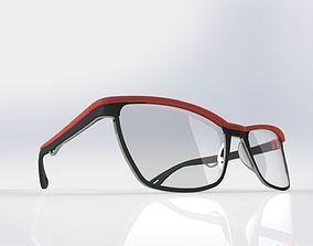 Acetate and titanium optical frame 3D