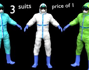 Doctor PPE coverall suit hazmat worker 3D asset 2