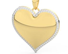 3D printable model heart pendant diamonds