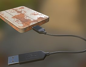 3D asset External HDD With USB Cable Rigged Rusty Version