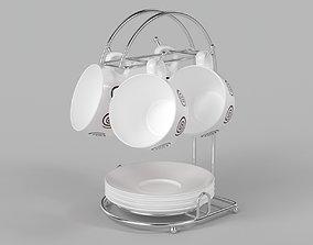 interior 3D A set of beautiful tea cups